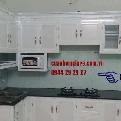 Tủ bếp nhôm kính TpHCM mẫu sơn tĩnh điện thiết kế ĐẸP giá RẺ